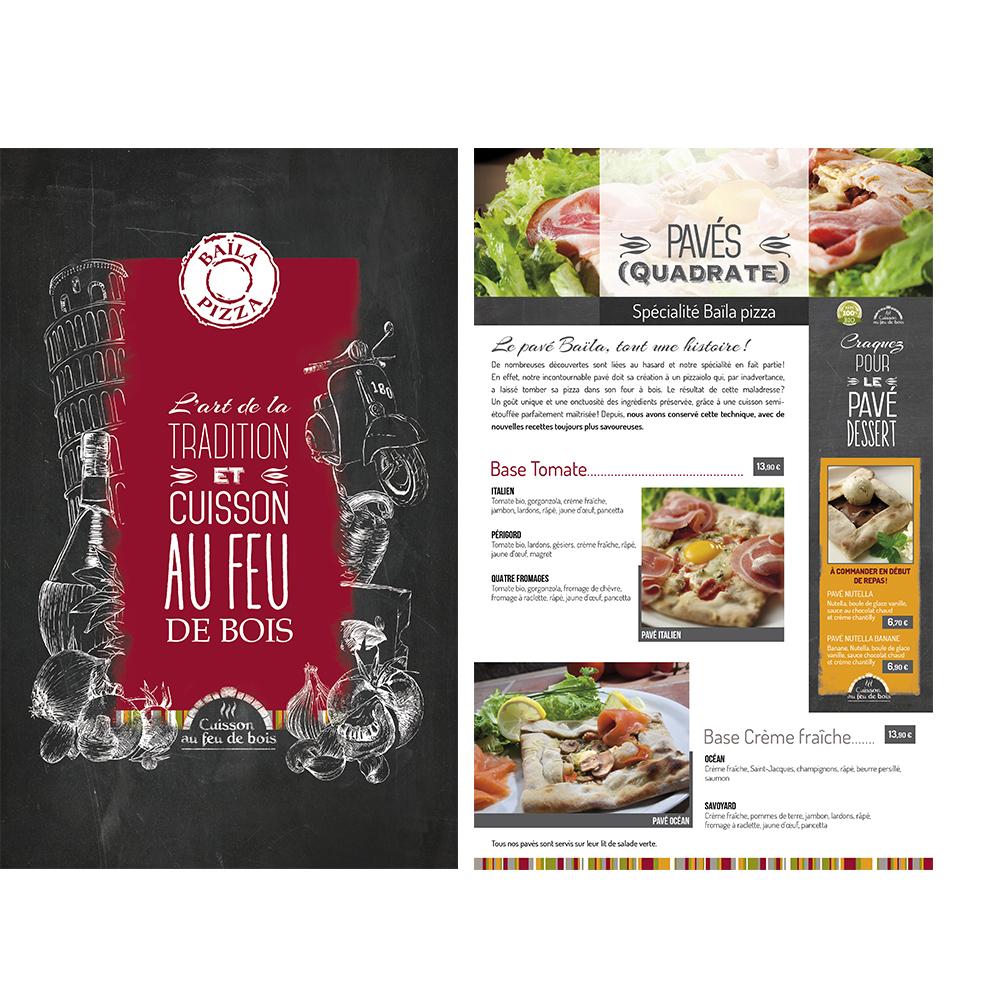 Carte menu baila pizza restaurant